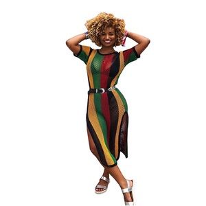 New 2018 Rasta Style Sexy Colour Striped Dress